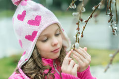 Girl with a branch of willow Stock Photography