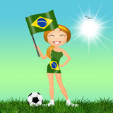 Girl with Brazilian flag Royalty Free Stock Image