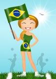 Girl with Brazilian flag Stock Photography