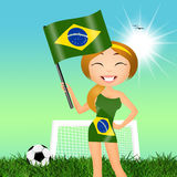 Girl with Brazilian flag Royalty Free Stock Photos