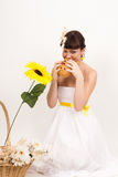 Girl with bread and ears of wheat Stock Image