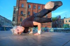 Girl break-dancer Stock Images