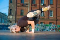 Girl break-dancer Stock Photo