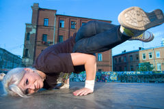 Girl break-dancer Stock Photography