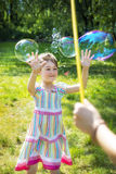 Girl After Break Soap Bubble Stock Images