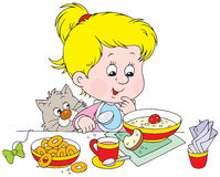 Girl at breakfast. Vector clip-art of a little girl at meat Royalty Free Stock Photo