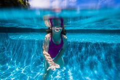 Girl Breath Underwater Pool Stock Photos