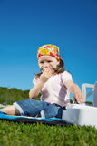 Girl breathe through nebulizer Royalty Free Stock Images