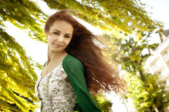 Girl and breeze Royalty Free Stock Image