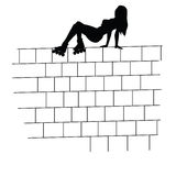 Girl on the brick wall  Royalty Free Stock Photography