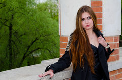 The girl at a brick wall Stock Photo