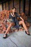 Girl on the bricks Royalty Free Stock Photo