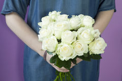 The Girl with bridal bouquet in her hands Stock Photos