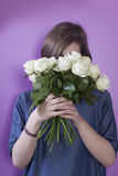 The Girl with bridal bouquet in her hands Stock Images