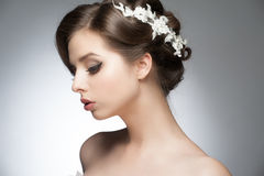 Girl with bridal hairstyle and makeup. Portrait of a young beautiful woman with bridal hairstyle and makeup stock photos
