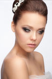 Girl with bridal hairstyle and makeup Stock Photo