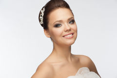 Girl with bridal hairstyle and makeup royalty free stock image