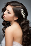 Girl with bridal hairstyle and makeup. Portrait of a pretty young woman with a beautiful bridal hairstyle and makeup. Brunette with long wavy hair stock images