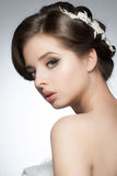 Girl with bridal hairstyle and makeup Royalty Free Stock Photo