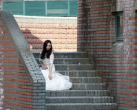 Girl bride in wedding dress Royalty Free Stock Photography