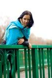 Girl on the bridge stock image