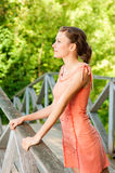 Girl on bridge Royalty Free Stock Photos
