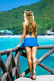 Girl on the bridge Stock Images
