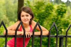 Girl at bridge hand-rail Royalty Free Stock Photo