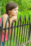 Girl at bridge hand-rail Stock Photo