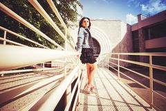 Girl on the Bridge Royalty Free Stock Images