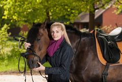Girl bridles her pony Stock Photos