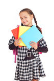 Girl with a briefcase and books Stock Photos