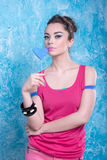 Girl in bright clothes on a contrasting background, retro style Royalty Free Stock Photos