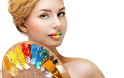 Girl with bright colored lips Royalty Free Stock Images