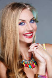 Girl with bright colorful makeup Stock Photography