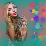 Girl with bright colorful makeup Stock Photos
