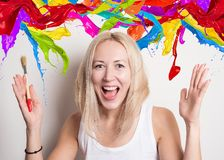 Funny girl with bright colors Royalty Free Stock Photos