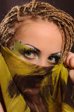 Girl with bright exotic makeup Royalty Free Stock Image