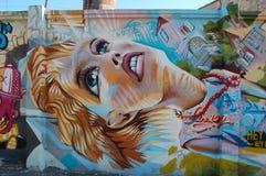 Girl.Bright graffiti Stock Photo