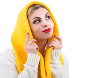 Girl in a bright knitted scarf. Beautiful warm knitted things.Scarf wrapped around the head stock images