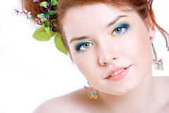 A girl with bright makeup Stock Photo
