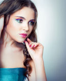 A girl with bright makeup Stock Photos