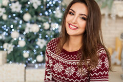 Girl in bright pullover portrait Royalty Free Stock Photos