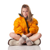 Girl in bright winter coat Royalty Free Stock Photography