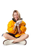 Girl in bright winter coat Royalty Free Stock Photo