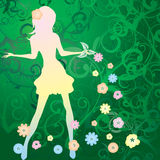 Girl bring spring Royalty Free Stock Photo
