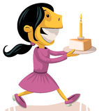 Girl bringing birthday cake Stock Images
