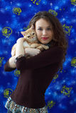 Girl and a British cat Stock Photos