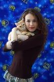 girl and a British cat Stock Photos