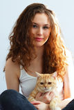 Girl and British cat Stock Photos